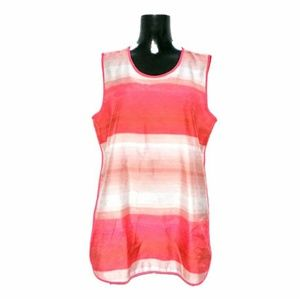 Vince Camuto Pink/White Sleeveless Tunic Top Sz M